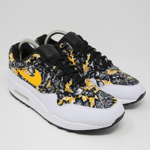 Nike Womens Air Max 1 QS Floral White Gold Black NWT